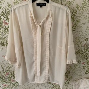Eloquii Blouse with Tie-neck & Bell Sleeves